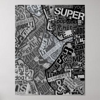 Typography Collage Black & White Newspaper Print