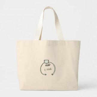 Typography e-hug computer hug large tote bag