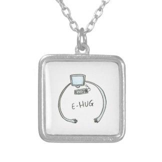 Typography e-hug computer hug silver plated necklace