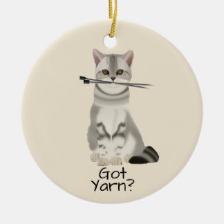 "Typography | ""Got Yarn"" Cat with Knitting Needles Ceramic Ornament"