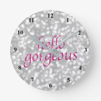 Typography Hello Gorgeous | Girly Hot Pink Silver Round Clock