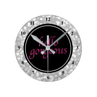 Typography Hello Gorgeous | Silver Bokeh Hot Pink Round Clock
