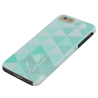 Typography  Hello Mint  Abstract Triangle Pattern Tough iPhone 6 Plus Case