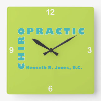 Typography in Strong Colors for the Chiropractor Square Wall Clock
