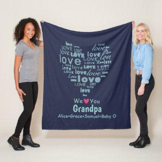 "Typography Love Heart ""We Love You"" Personalized Fleece Blanket"
