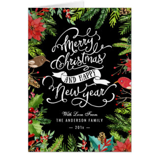 Typography Merry Christmas and Happy New Year Card