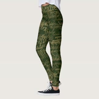 typography names pattern personalized on green leggings