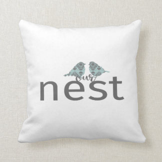 """Typography """"Our Nest"""" Gray & Blue Love Birds Throw Pillow"""