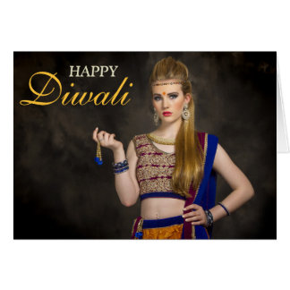 Typography Overlay Personalized Happy Diwali Photo Card