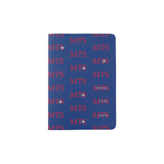 typography pattern of initials blue & red american passport holder