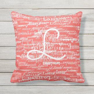 typography pattern of names on coral throw pillow
