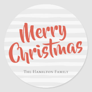 Typography Personalized Christmas Grey and Orange Classic Round Sticker