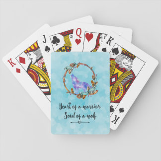 Typography Quote with a Watercolor Wolf Boho Styl Playing Cards
