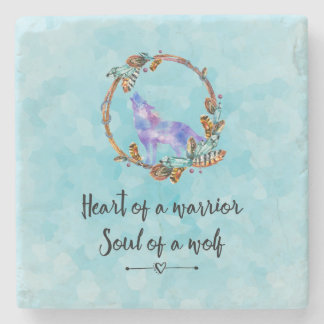 Typography Quote with a Watercolor Wolf Boho Style Stone Coaster
