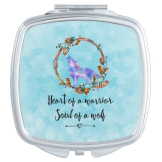 Typography Quote with a Watercolor Wolf Boho Style Vanity Mirrors