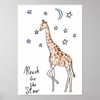 "Typography ""reach for the star"" Giraffe Print"