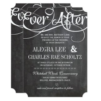 Typography Rustic Chalkboard Ever After Chalkboard Card