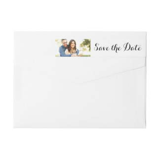 Typography Save the Date Photo Address Label