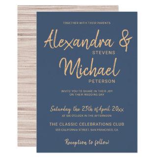 Typography script navy copper modern wedding card