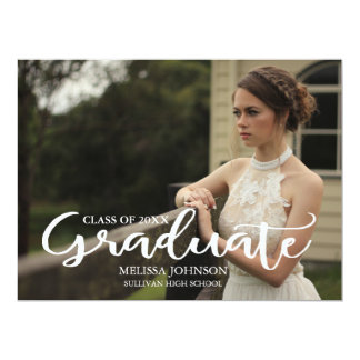 Typography Script Photo Graduation Invitation