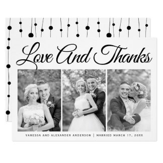 Typography wedding Thank You three photo collage Card