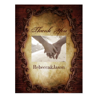 typography western country wedding thank you postcard