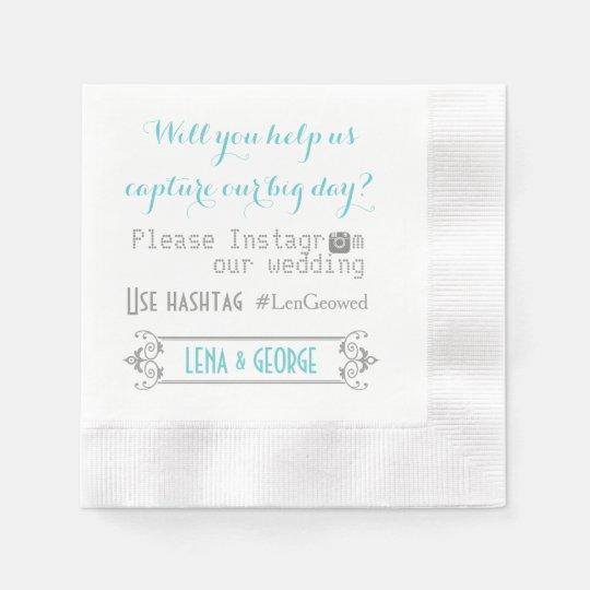 Typography with Instagram hashtag aqua wedding Disposable Napkins