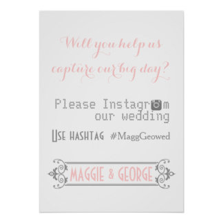 Typography with Instagram hashtag pink wedding Poster