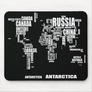Typography World Map Mouse Pad