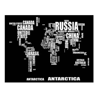 Typography World Map Postcard