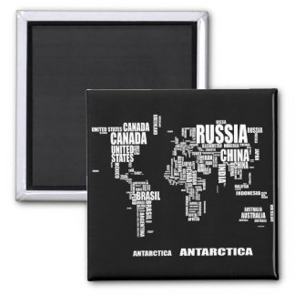 Typography World Map Square Magnet