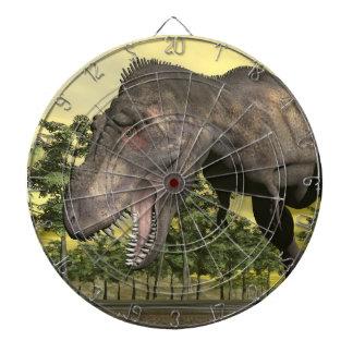 Tyrannosaurus angry - 3D render Dartboard With Darts
