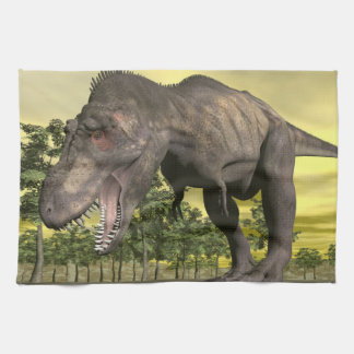 Tyrannosaurus angry - 3D render Kitchen Towel