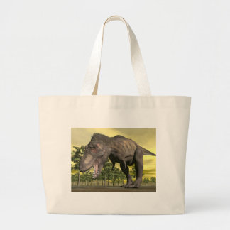 Tyrannosaurus angry - 3D render Large Tote Bag