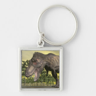 Tyrannosaurus angry - 3D render Silver-Colored Square Keychain