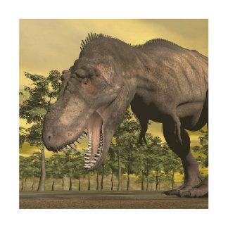 Tyrannosaurus angry - 3D render Wood Print