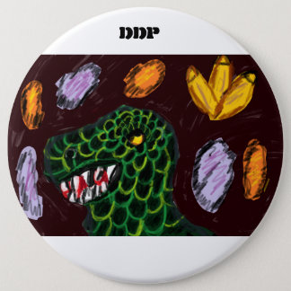 Tyrannosaurus art 6 inch round button