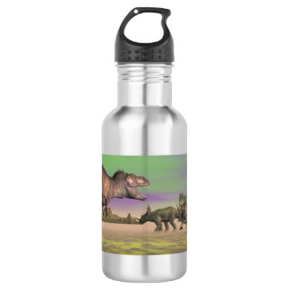 Tyrannosaurus attacking styracosaurus - 3D render 532 Ml Water Bottle