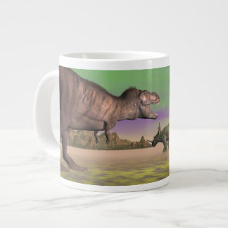 Tyrannosaurus attacking styracosaurus - 3D render Large Coffee Mug