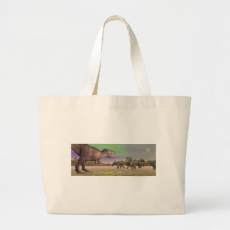 Tyrannosaurus attacking styracosaurus - 3D render Large Tote Bag