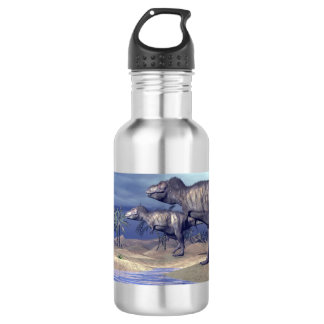Tyrannosaurus attacking triceratops - 3D render 532 Ml Water Bottle