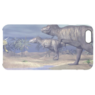Tyrannosaurus attacking triceratops - 3D render Clear iPhone 6 Plus Case
