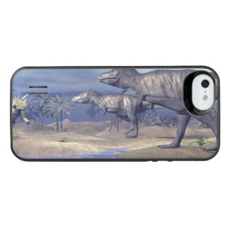 Tyrannosaurus attacking triceratops - 3D render iPhone SE/5/5s Battery Case