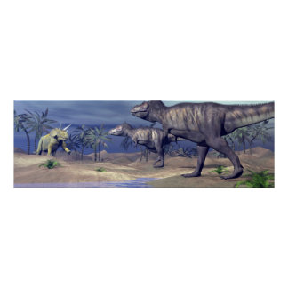 Tyrannosaurus attacking triceratops - 3D render Poster
