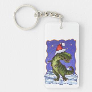 Tyrannosaurus Christmas Double-Sided Rectangular Acrylic Keychain