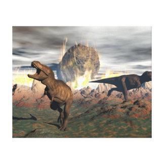 Tyrannosaurus dinosaur exctinction - 3D render Canvas Print