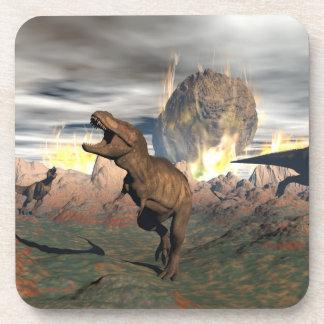 Tyrannosaurus dinosaur exctinction - 3D render Coaster