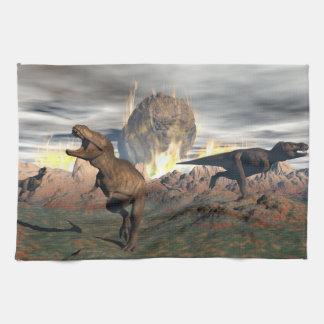 Tyrannosaurus dinosaur exctinction - 3D render Kitchen Towel
