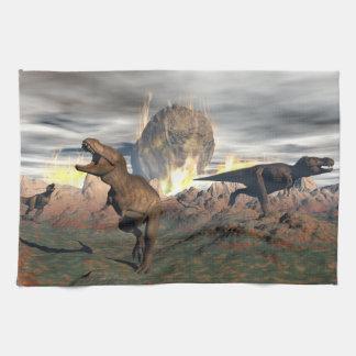 Tyrannosaurus dinosaur exctinction - 3D render Kitchen Towels