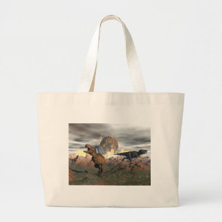 Tyrannosaurus dinosaur exctinction - 3D render Large Tote Bag